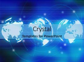 <b>Crystal</b> PowerPoint template with world map themed background and a light blue colored foreground design featuring a [design description].