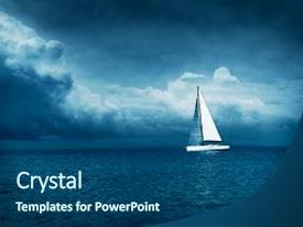 Storm powerpoint templates crystalgraphics crystal powerpoint template with yacht sailing in stormy sea themed background and a ocean colored foreground toneelgroepblik Images