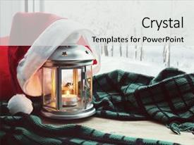 <b>Crystal</b> PowerPoint template with year still life christmas background themed background and a light gray colored foreground design featuring a [design description].