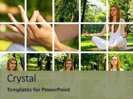 <b>Crystal</b> PowerPoint template with yoga collage by beautiful girl themed background and a seafoam green colored foreground design featuring a [design description].
