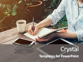 <b>Crystal</b> PowerPoint template with young business woman hand with themed background and a dark gray colored foreground design featuring a [design description].