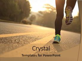 <b>Crystal</b> PowerPoint template with young fitness woman runner running themed background and a coral colored foreground design featuring a [design description].